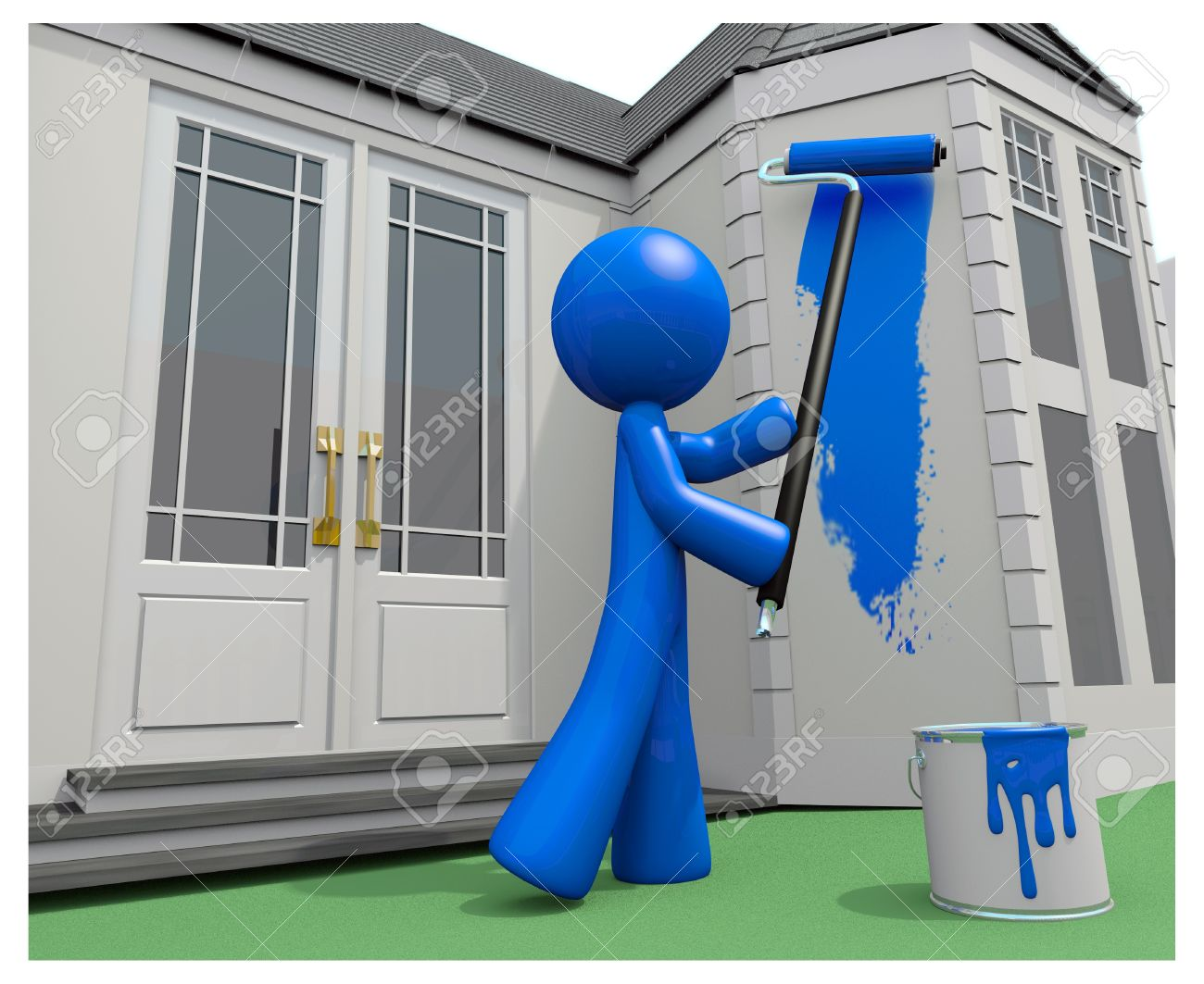 Blue Man Painting His House, 3d. Stock Photo   11134844