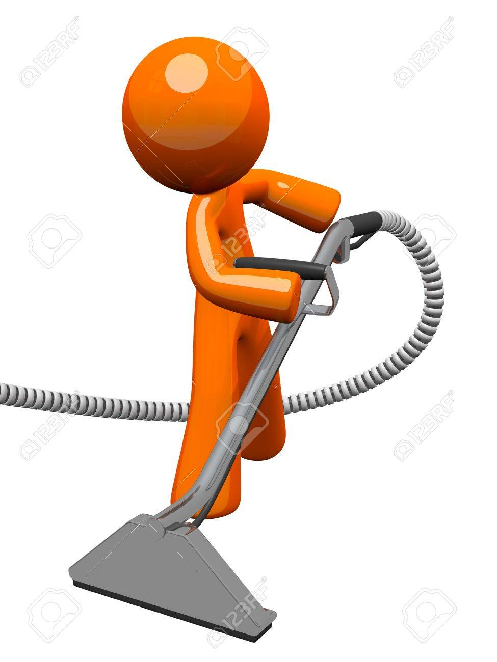 Orange man with steam cleaner carpet wand, extracting floor. Stock Photo - 12803674