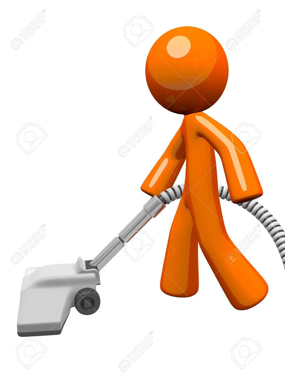 Orange man vacuuming and cleaning house. Stock Photo - 12803659