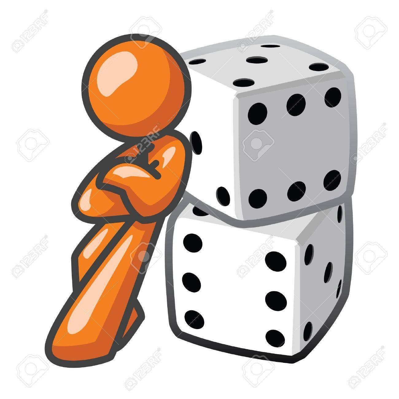 Orange Man leaning against dice, confident. Stock Vector - 12803752