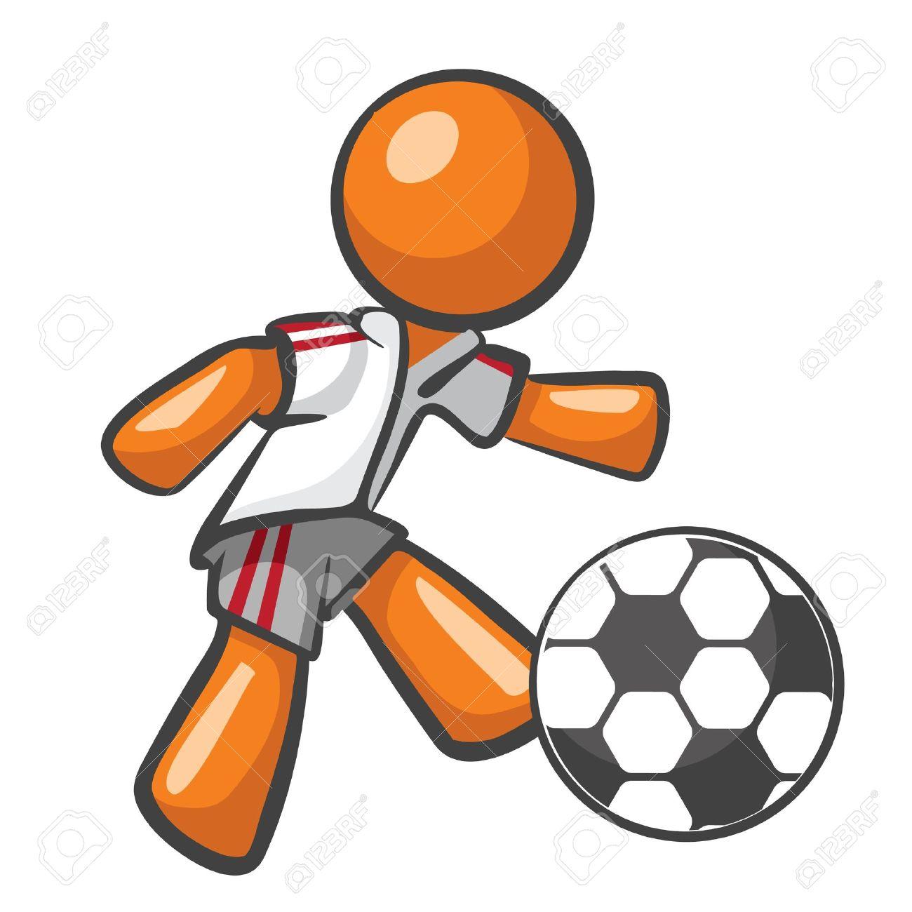 Orange Man playing soccer, kicking a soccer ball. Stock Vector - 12803739