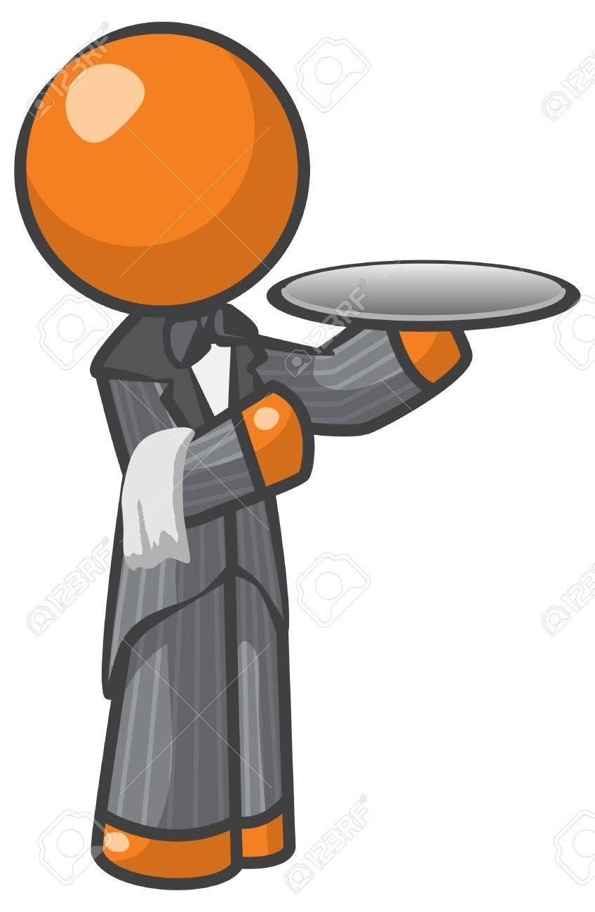 Orange Man butler or house servant Stock Vector - 12803710
