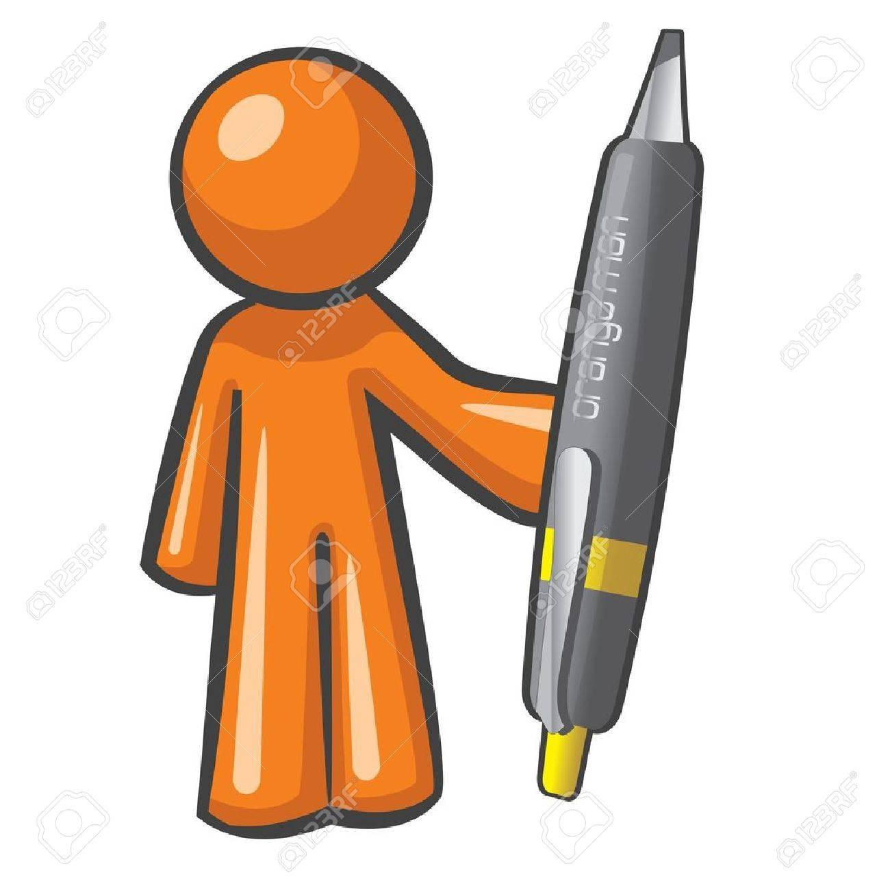 オレンジ男は巨大、オーバー サイズのペンを保持しています。ペン強し