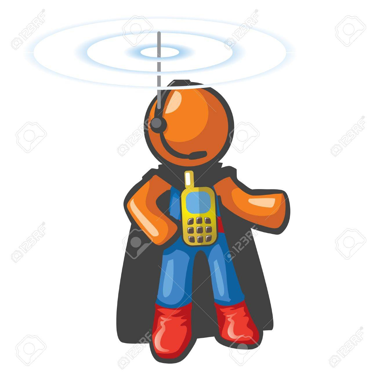 Orange Man communications hero, with phone on his chest and antennae on his head. He's in touch and ready to save the day from a safe distance. Stock Vector - 12812125