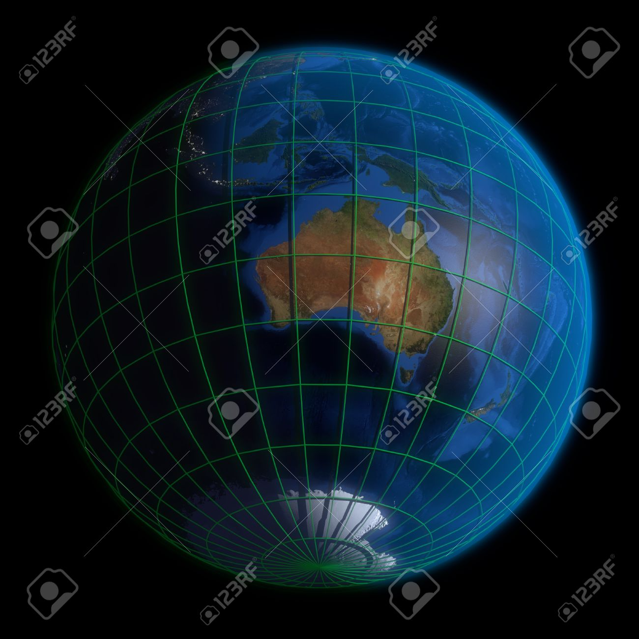 Earth Globe Australia- Latitude And Longitude. 3d Render Using ...