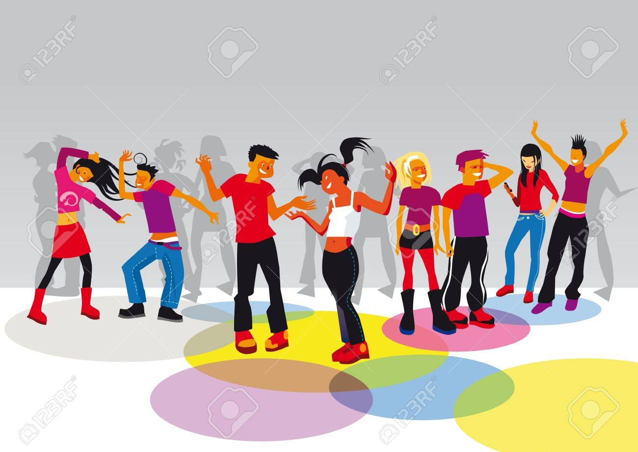 group of boys and girls dancing and having fun in a disco Stock Vector - 11119650