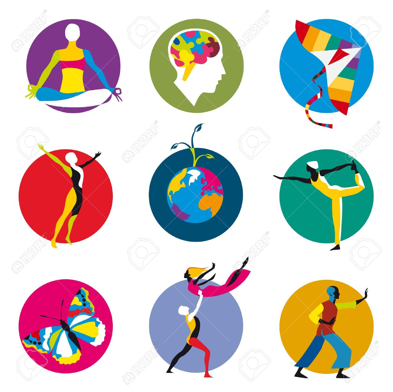 vector icons for human development activities inside colored circles Stock Vector - 11119647