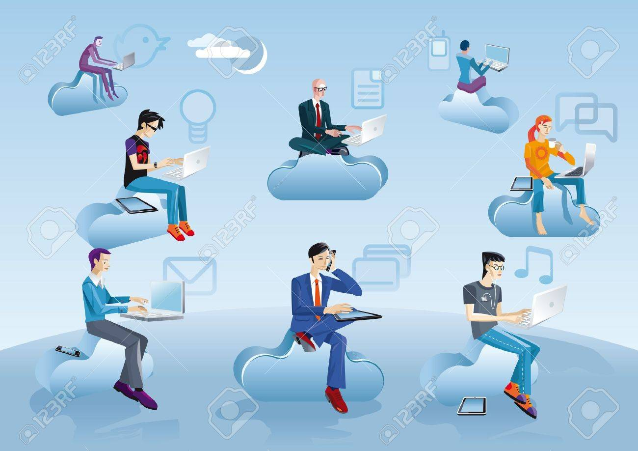 Eight men of different ages clothes and styles (businessman, creative, geek etc.) working in the cloud with their laptops, smartphones and tablets. Near each character  an internet and social media icons. Stock Vector - 12875559
