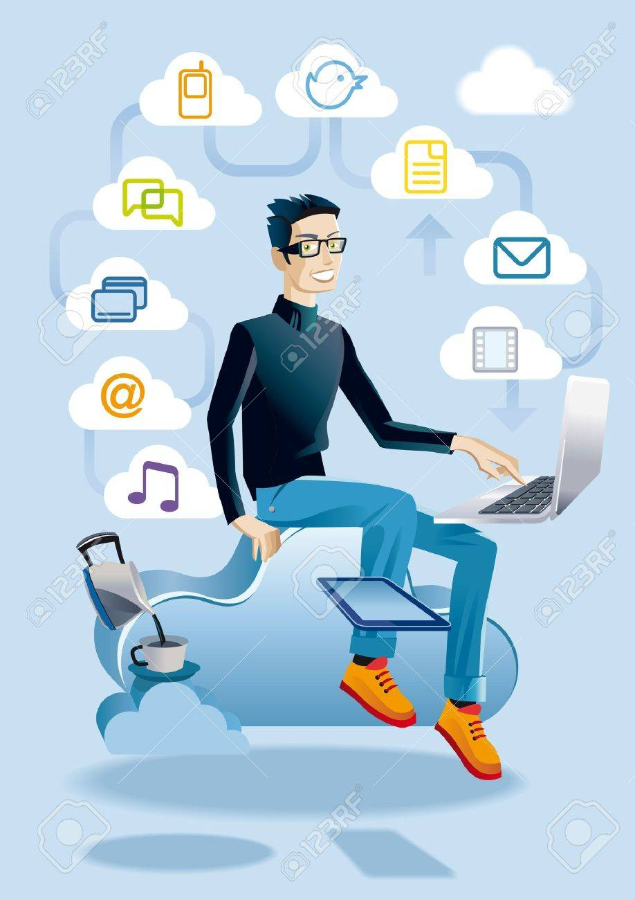 Cool young man Hes sitting on a cloud working with a laptop  He also has a digital tablet  Around he displays a set of media and communication icons, representing different aspects of clouding and internet Stock Vector - 12976382