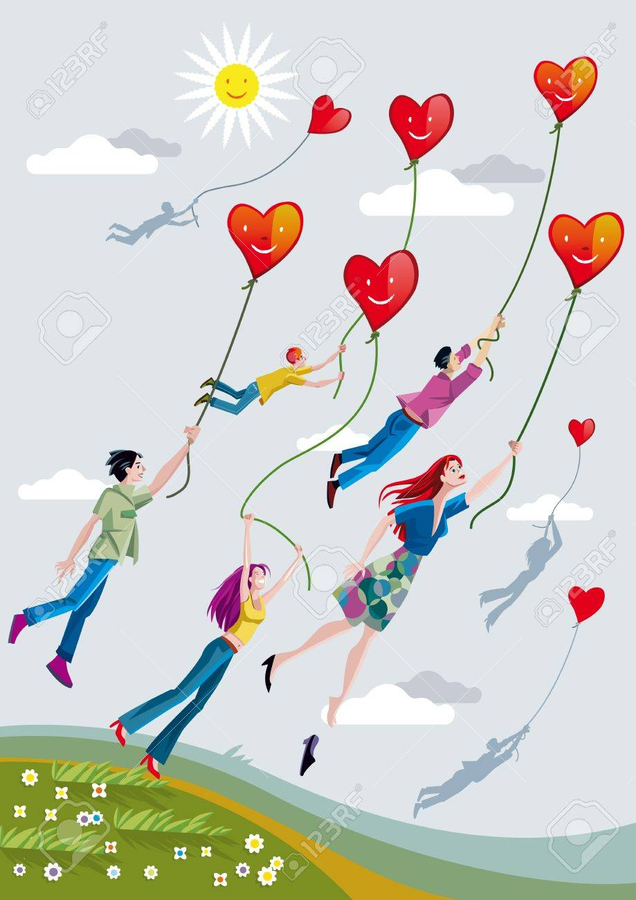 Boys and girls are raised over the fields clinging to ropes that hold smiling hearts. Stock Vector - 13630650
