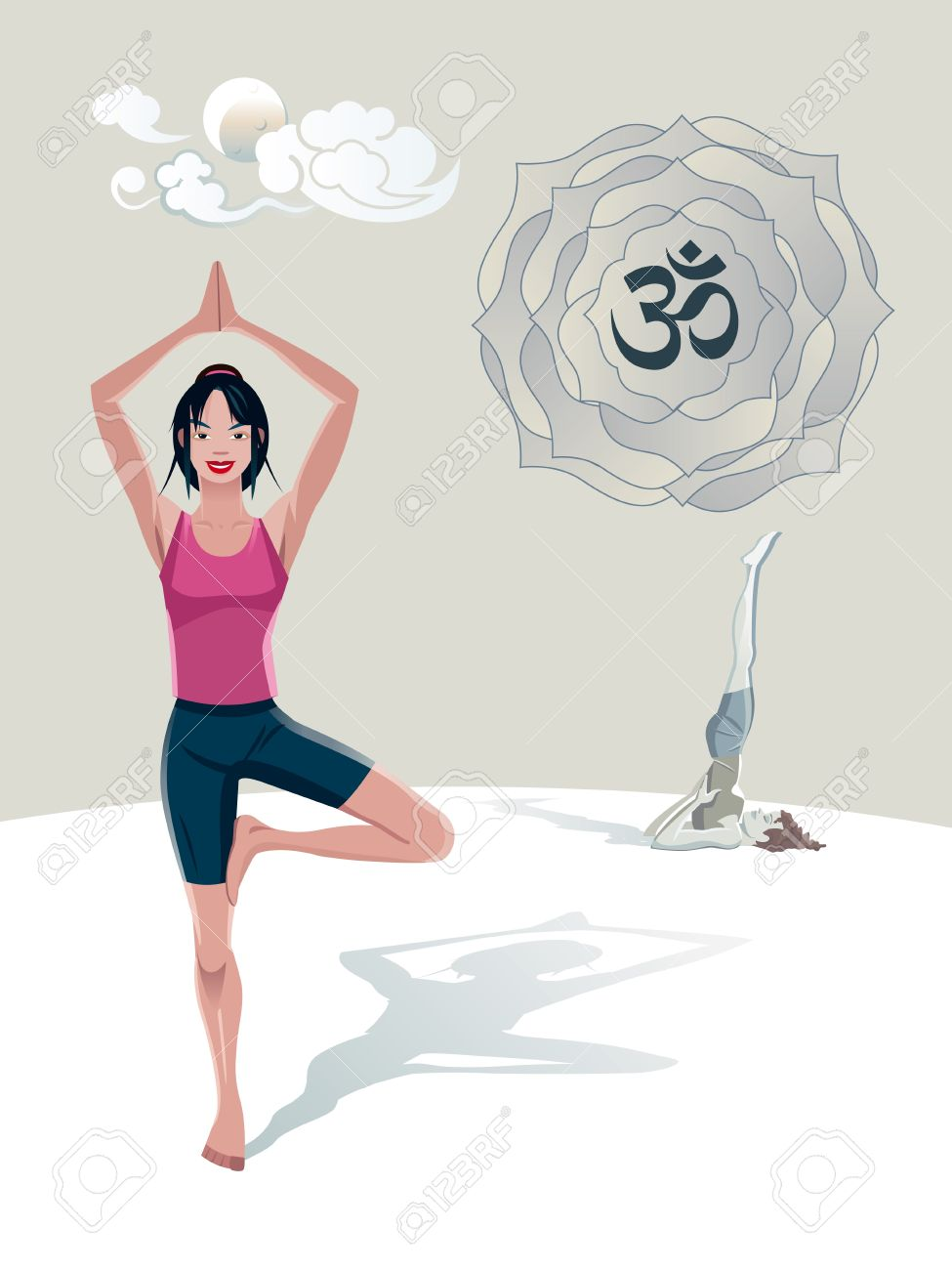 Woman Practicing Yoga outdoor. Tree asana (Vrkshasana). She is in a quiet place, with the moon and clouds in Japanese style. In a lotus it's the sacred syllable OM Stock Vector - 14189978