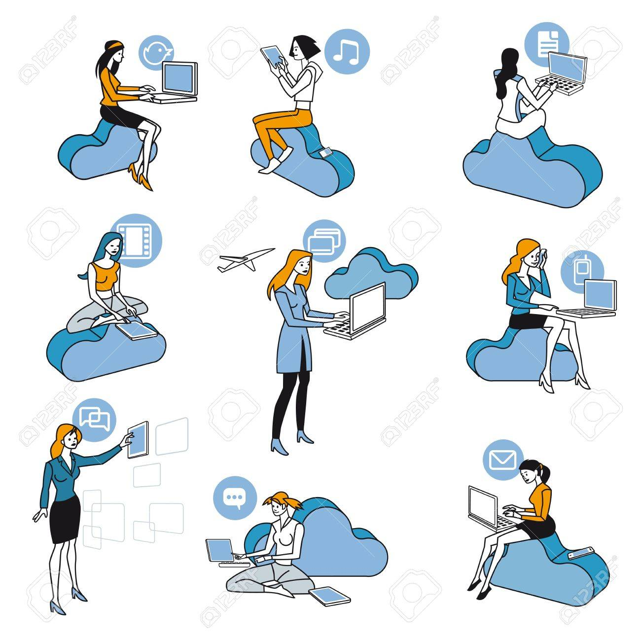Nine girls and women access to Internet data in the cloud while they are sitting on blue clouds. Attitudes of professional work and leisure in social networks. schematic illustrations nearly icons Stock Vector - 14255658