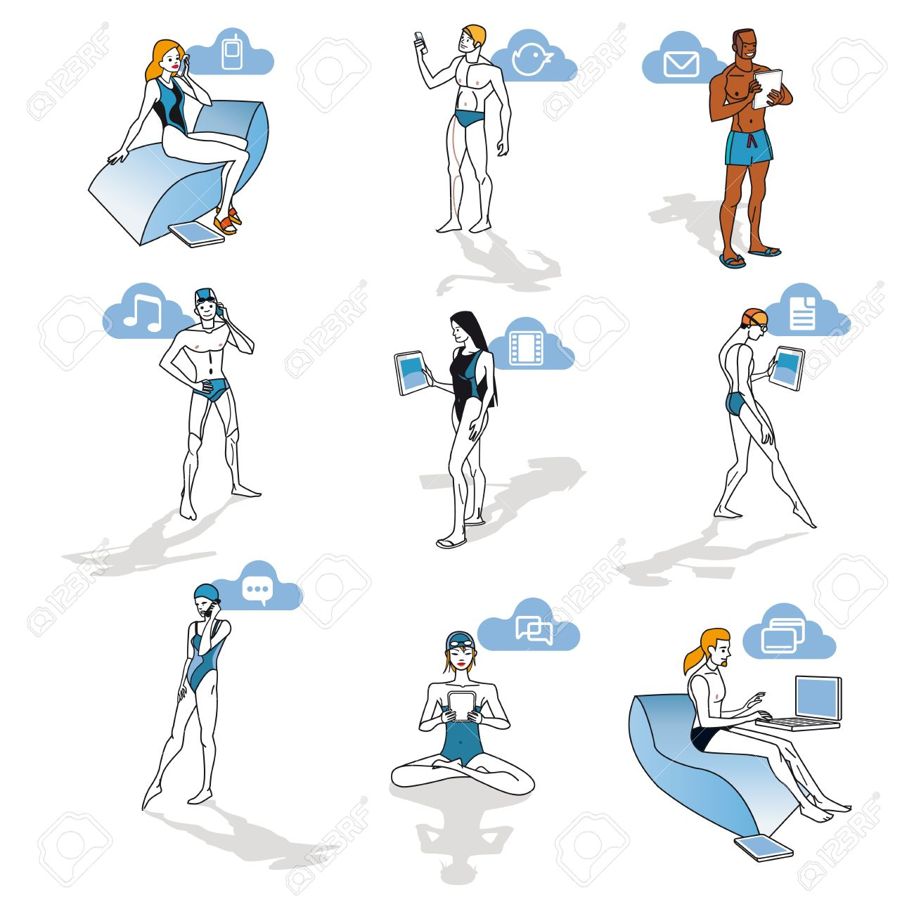 Nine  characters of men and women in swimsuits making use of smartphones, laptops and digital tablets. Each of them can be very easily taken independently or to relate it to other for composite diferents  and refreshing scenes. Schematic illustration with Stock Vector - 14260775