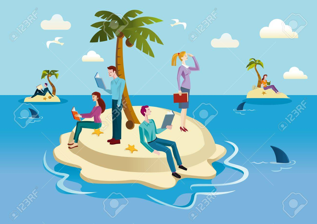 A small tropical island occupied by men and women who spend their time reading books. Stock Vector - 19154627