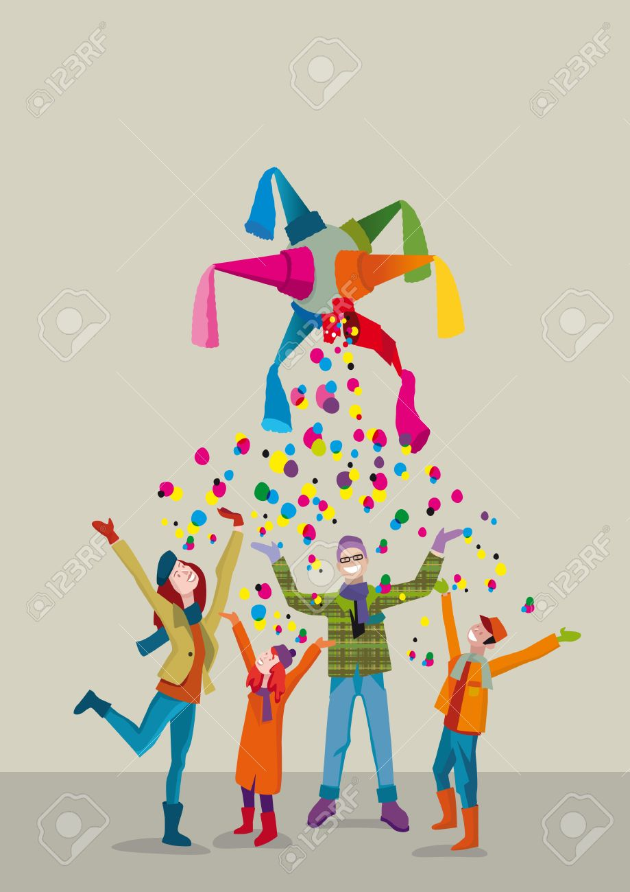 A united family celebrates Christmas with joy and gratitude gesture under a rain of confetti Stock Vector - 24187425