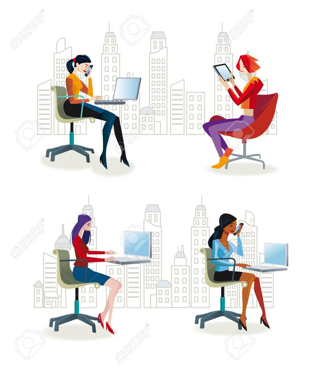 office furniture for women. Set Of Working Women Sitting In Their Office Chairs. They Work With Laptop Or Furniture For O