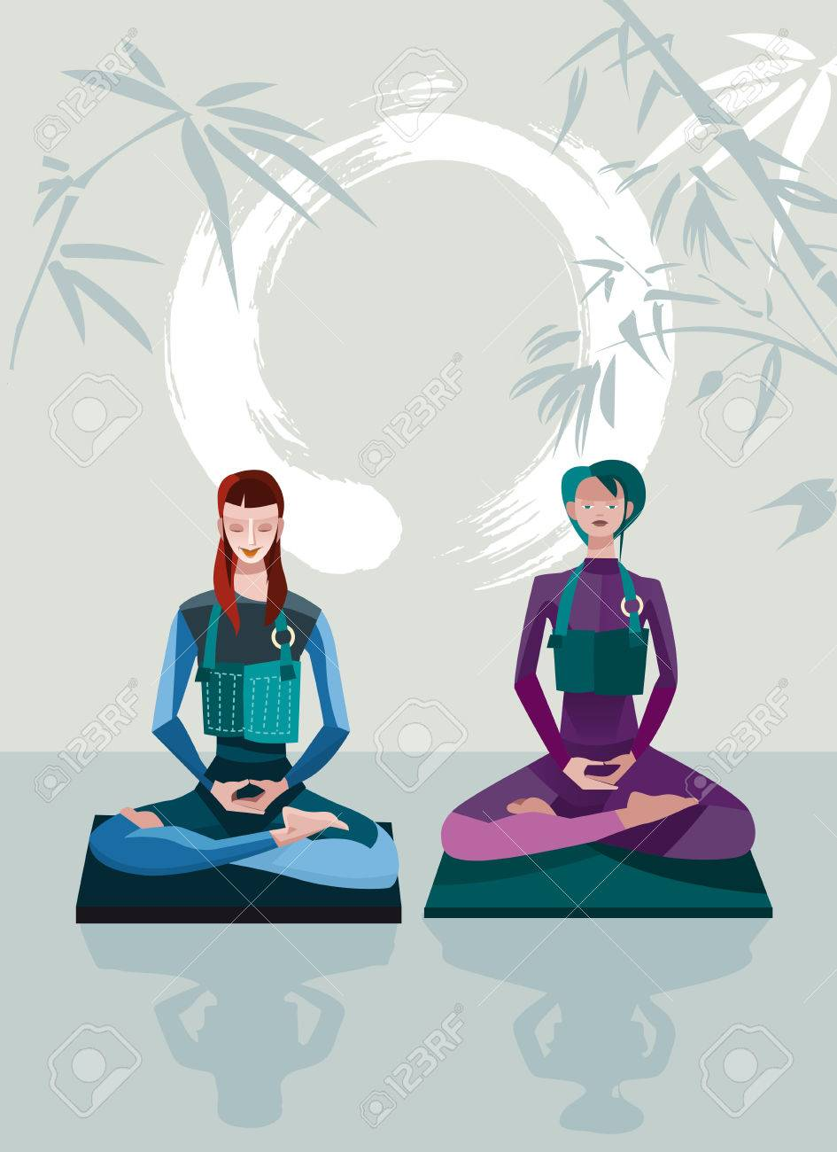 Two Women Meditating sitting in the lotus position, practicing silent meditation  behind them a large calligraphic circle that represents the behind them a large calligraphic circle represents the emptiness  They belong to the tradition of Zen Buddhism Stock Vector - 27523528