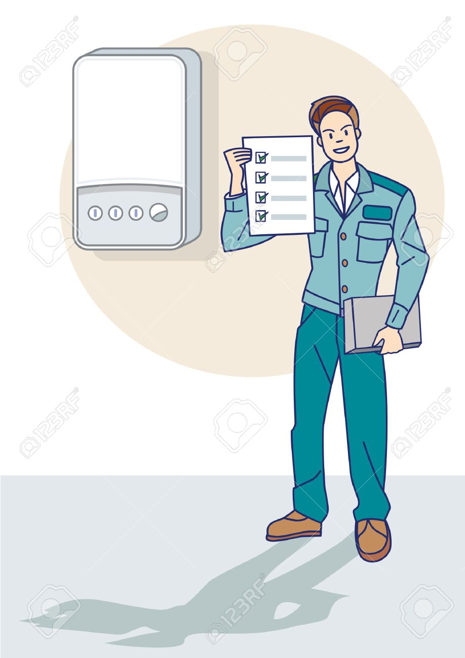 Ein Gas-Techniker Die Kontrolle Des Ordnungsgemäßen Funktionierens ...