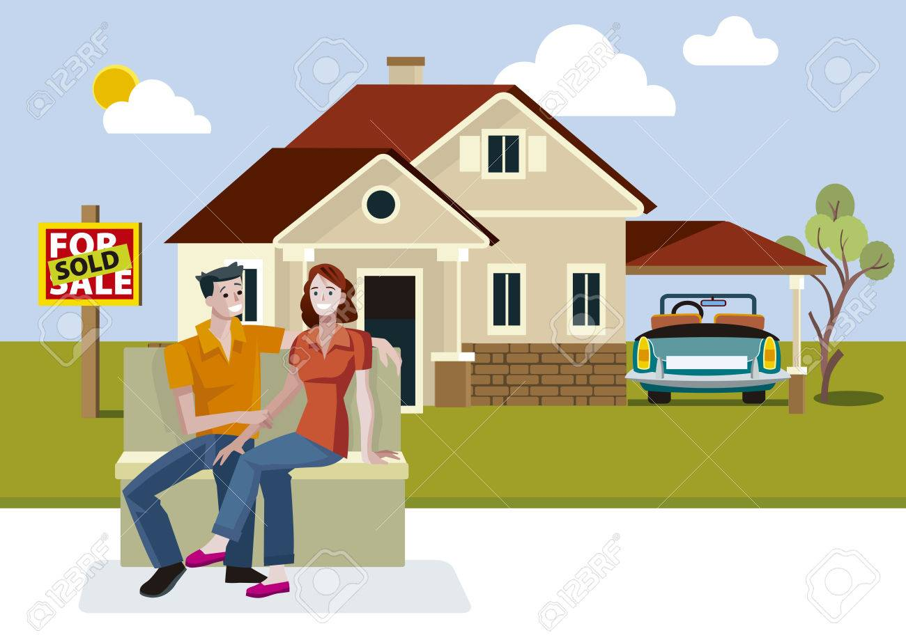 Young Couple Outside Their New House With Sold Sign Royalty Free - New home clipart