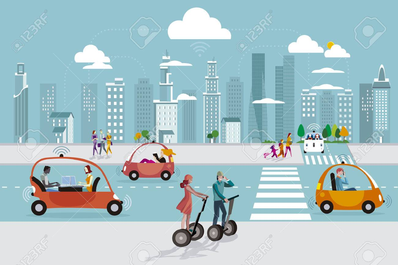 Road in the city with autonomous Driverless cars and people walking on the street. In the skyline skyscrapers. - 71752851