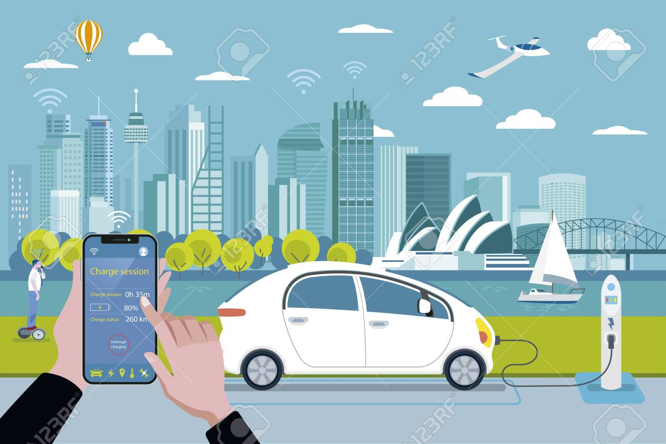 Electric car charging point. Charging a electric car with a smart phone application. On the background, a panoramic Sydney skyline. Flat vector illustration. - 131653134