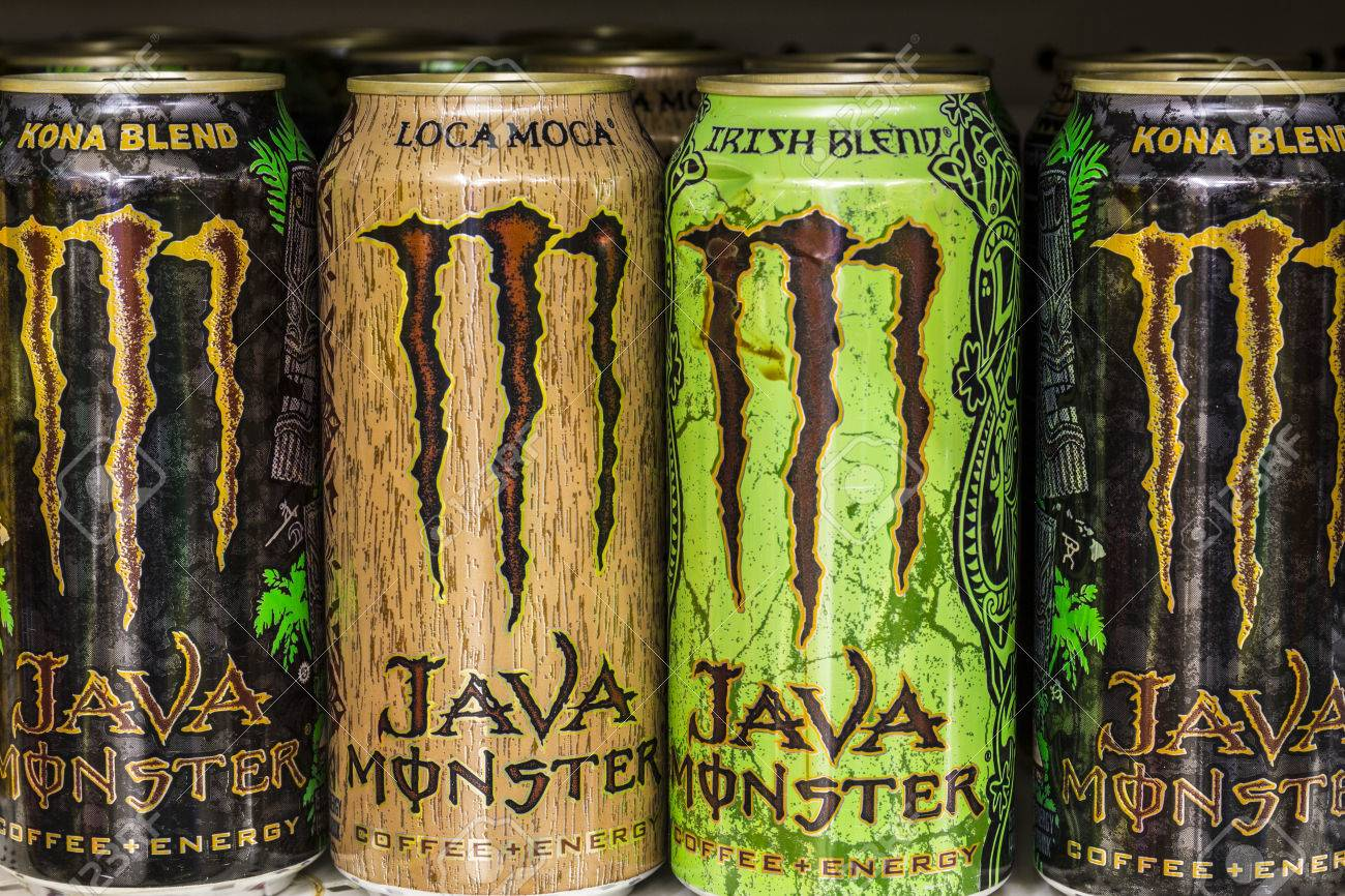 Indianapolis - Circa August 2016: Monster Beverage Display. Monster Corporation manufactures energy drinks including Monster Energy II - 61167915