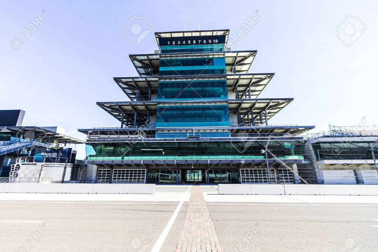 Indianapolis - Circa February 2017: The Panasonic Pagoda at Indianapolis Motor Speedway. IMS Prepares for the 101st Running of the Indy 500 XI - 72049680