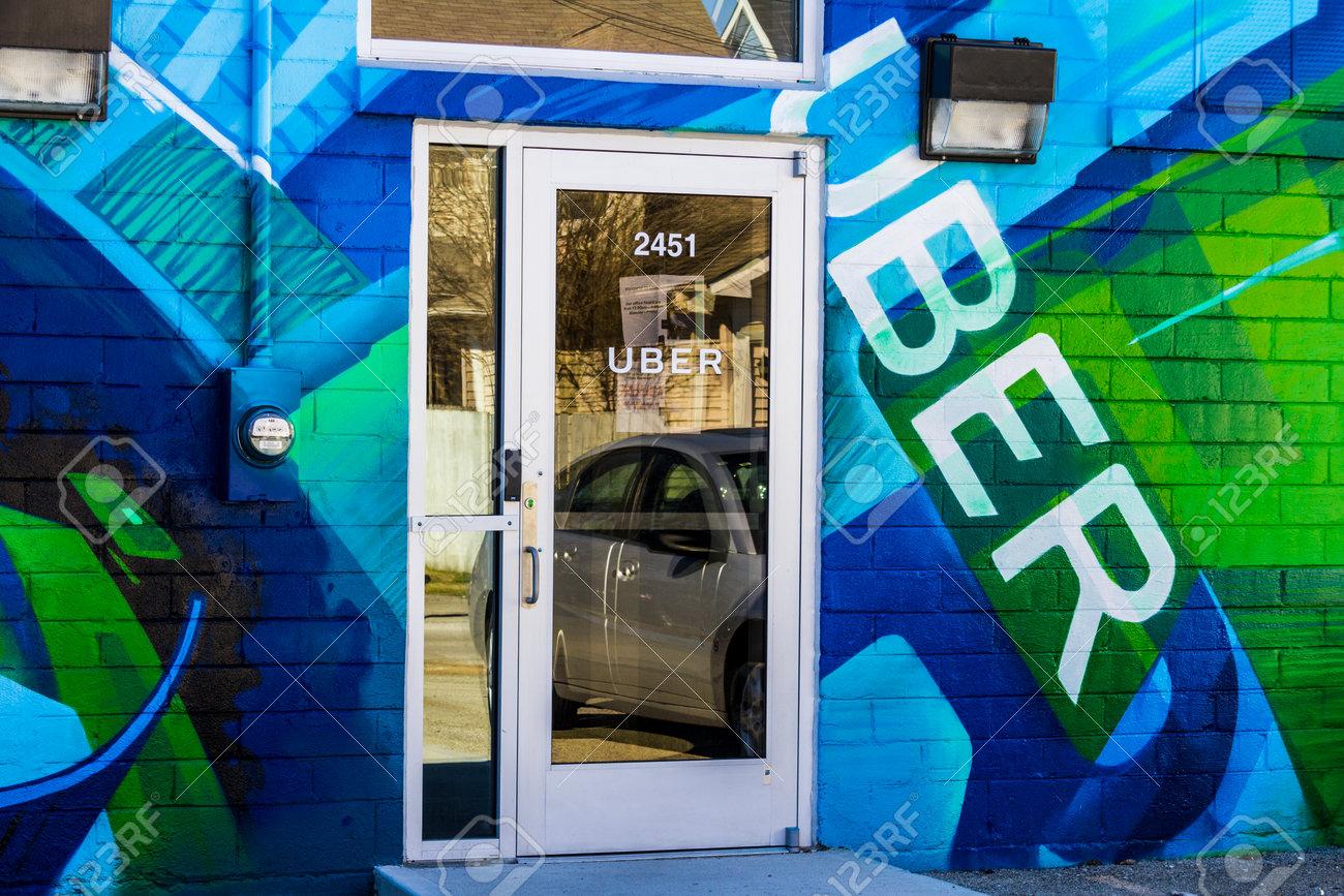 Indianapolis - Circa March 2017: Uber Greenlight Hub  Uber Drivers