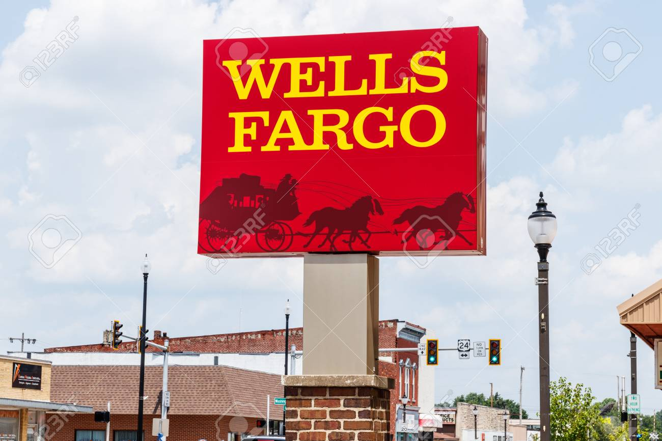 Monticello - Circa June 2018: Wells Fargo Signage and Logo. Wells Fargo is selling all its branches in three Midwestern states II - 112207143