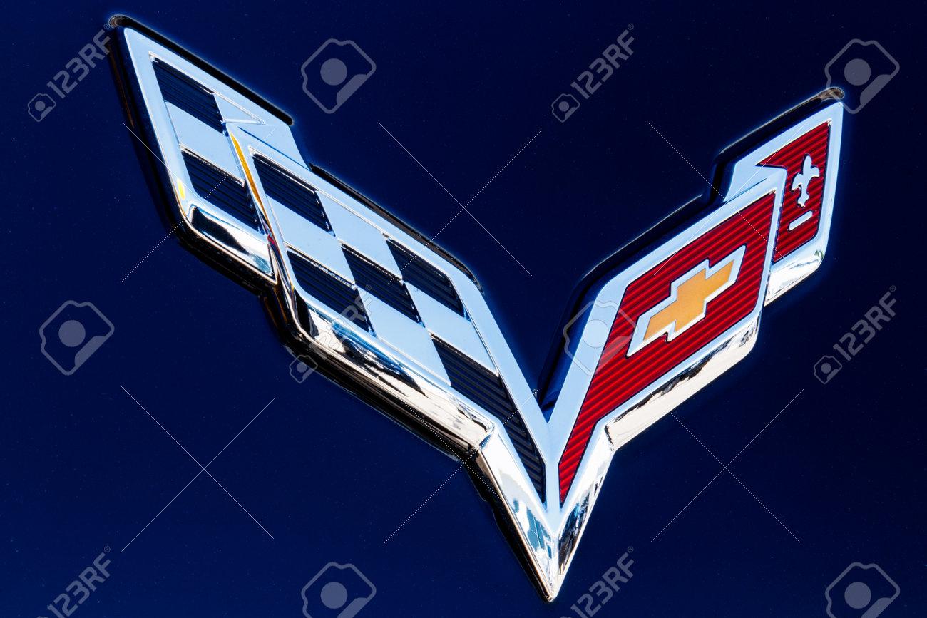 Indianapolis Circa July 2018 Chevrolet Corvette Emblem At Stock