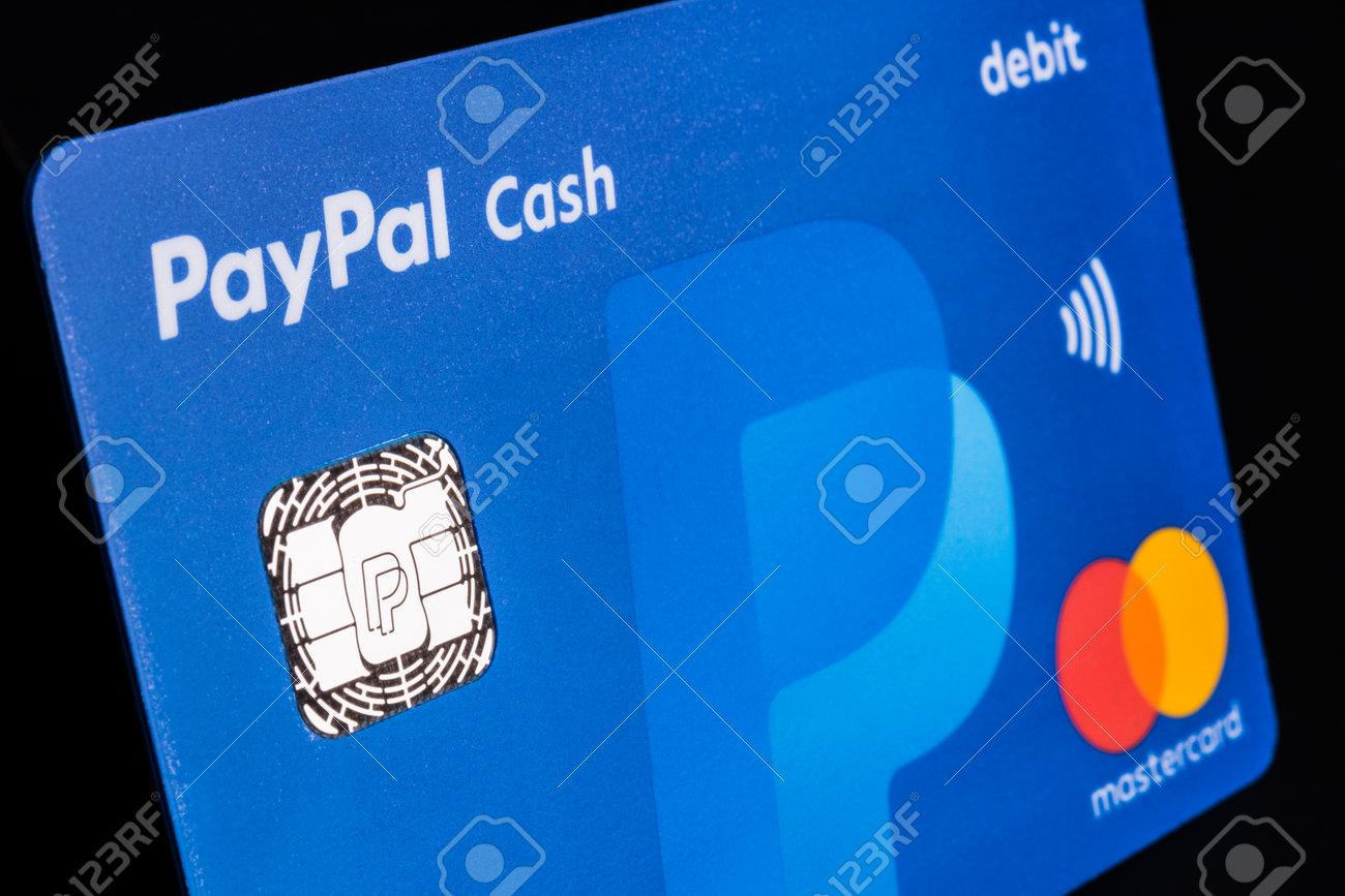 Indianapolis - Circa July 2018: PayPal Debit Cash card with MasterCard