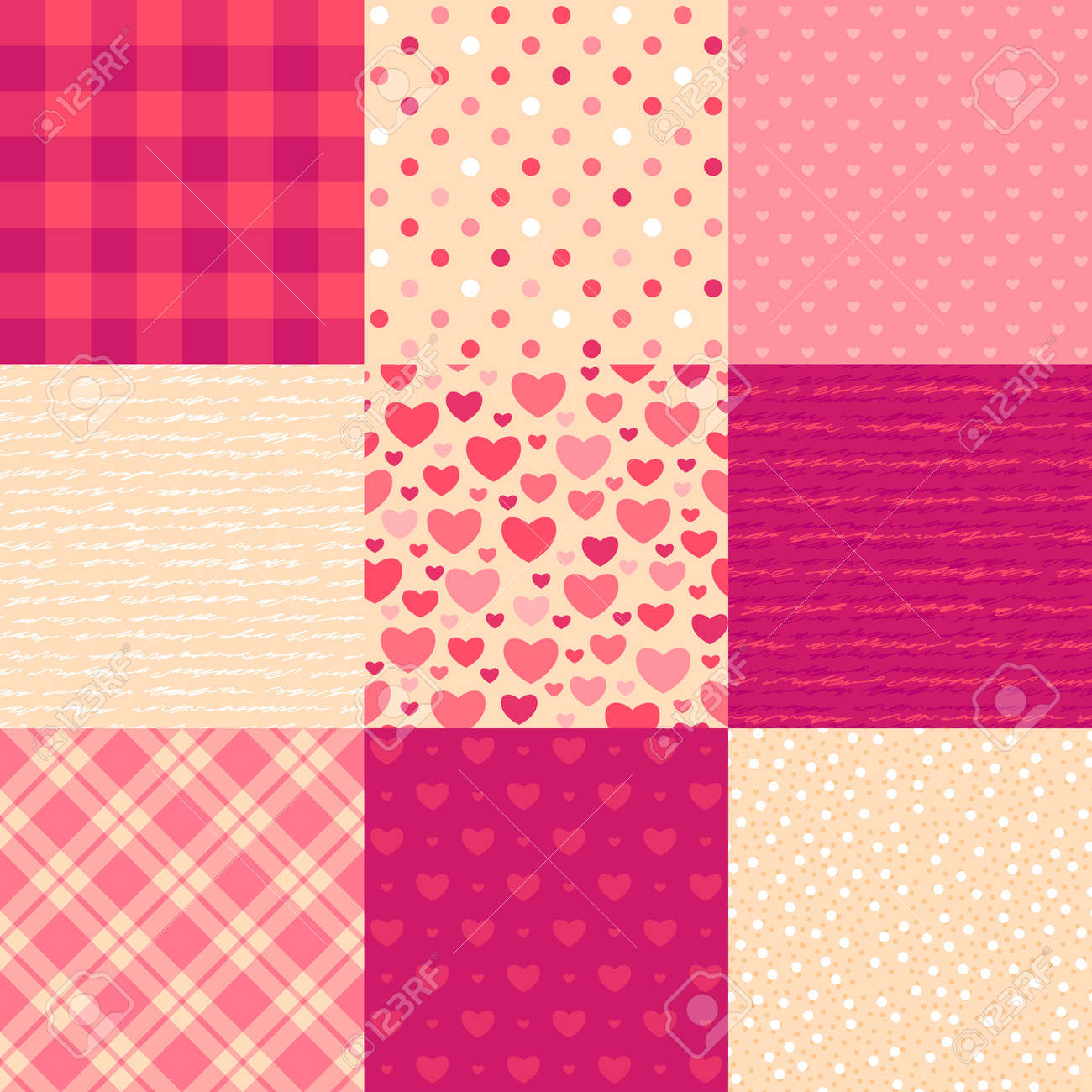 Love letters  Collection of 9 elegant seamless patterns on the theme of romance and love Stock Vector - 12491337