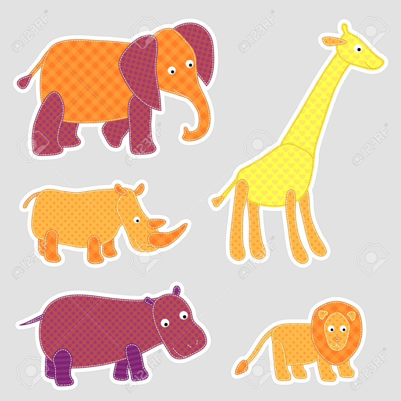 Vector African cartoon animals in patchwork style Stock Vector - 12827013