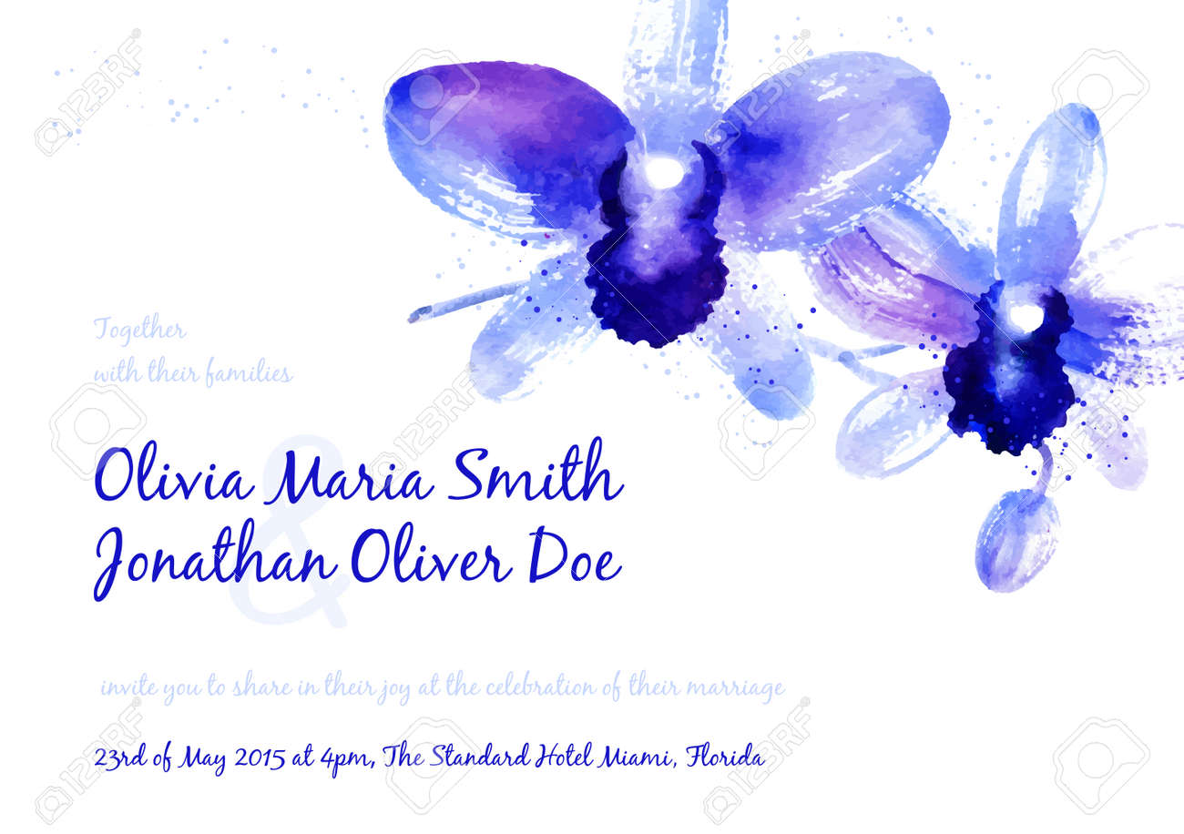 Vector Background With Blue Watercolor Orchids For Wedding ...