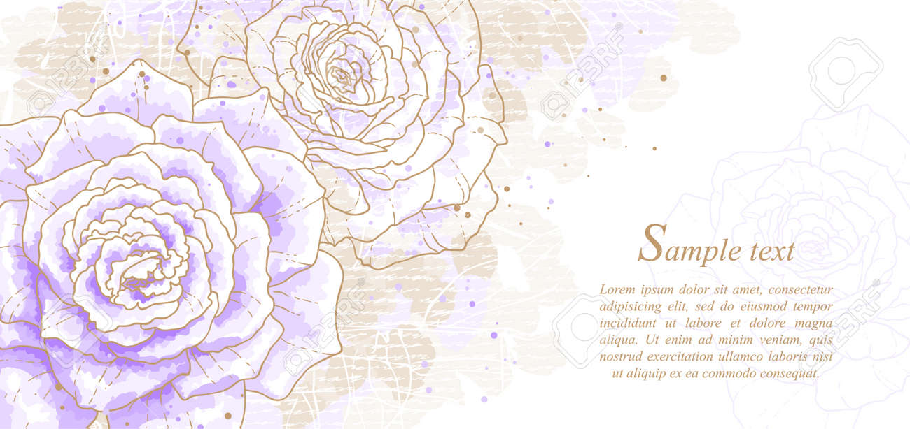 Romantic Background With Violet Roses. Watercolor Style. Can ...