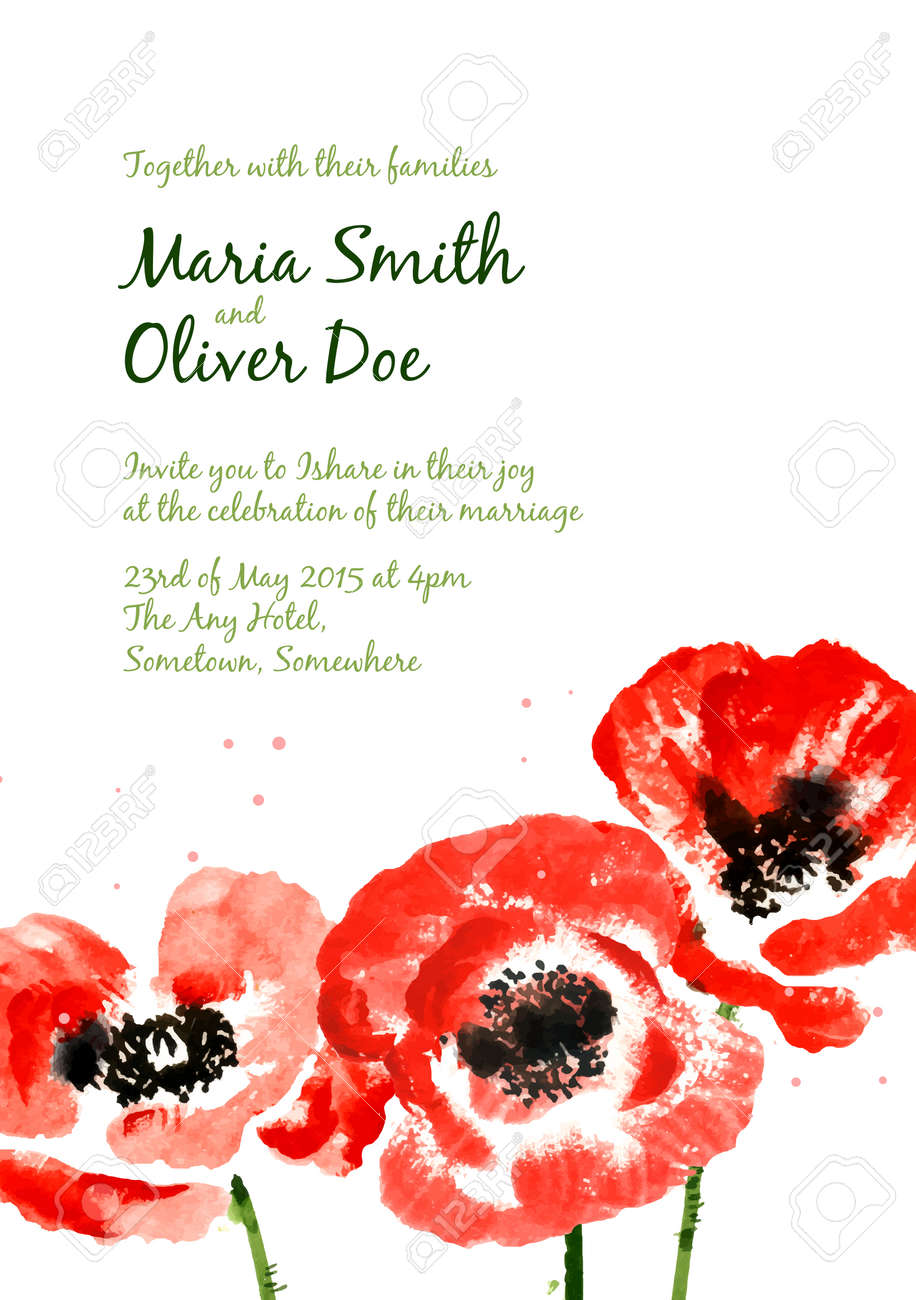 Vector Background With Red Watercolor Poppies For Wedding Invitation ...