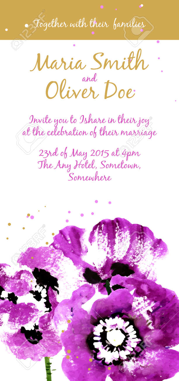 Vector Background With Purple Watercolor Poppies For Wedding ...