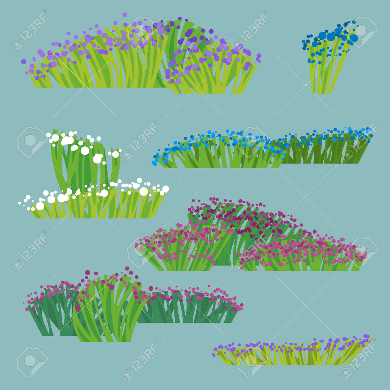 Collection Of Drawings Of Stylized Flowering Grass And Bushes