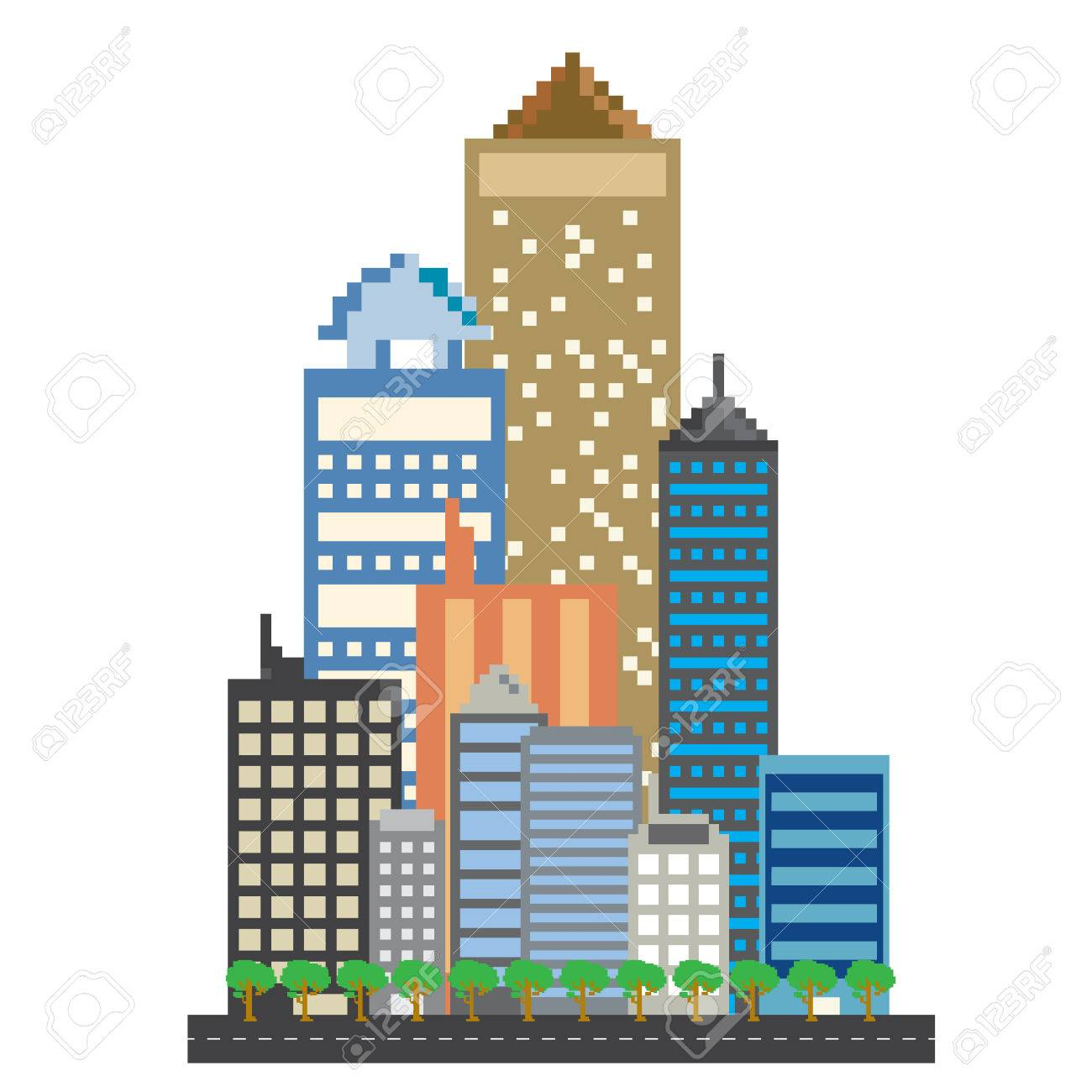 pixels art office building in the city royalty free cliparts rh 123rf com