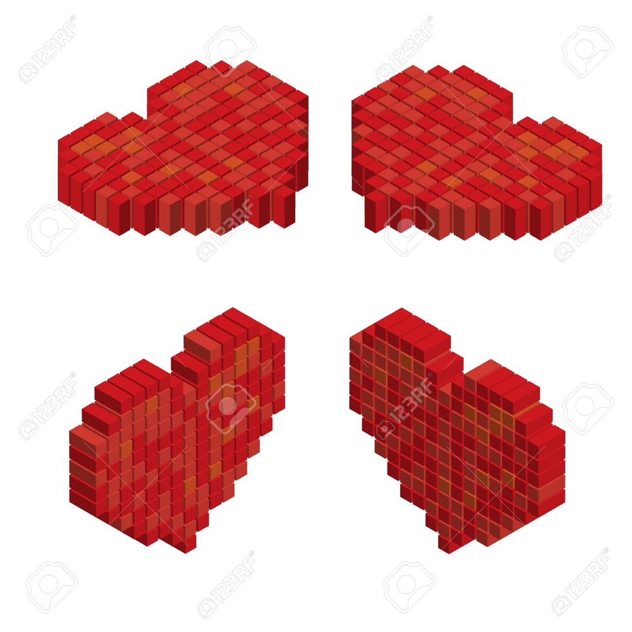Pixels Coeur De Tuile Dart 3d Conçoit Concept De Lamour