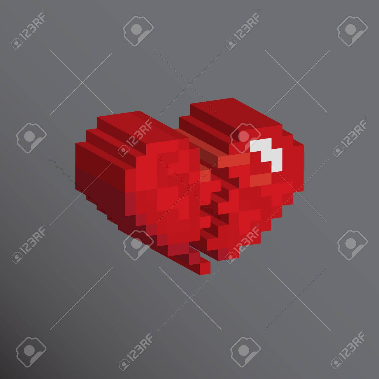 Pixels Coeur Dart Designs Cassés Amour Notion