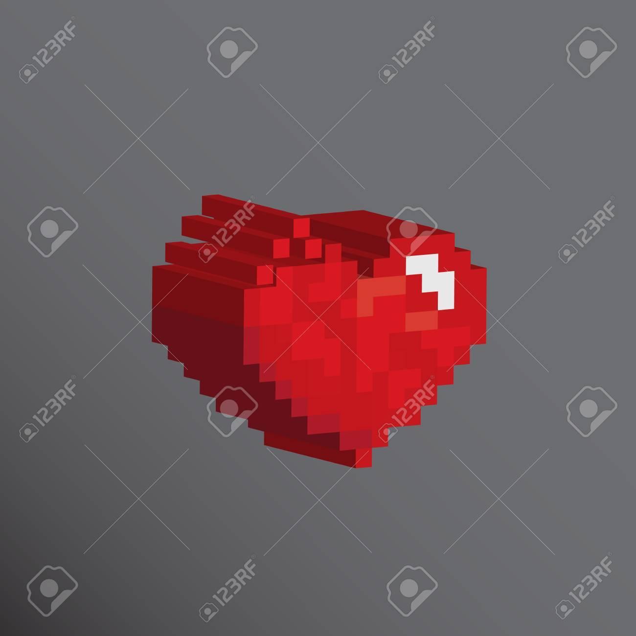 Pixels Coeur Art 3d Conçoit Concept De Lamour