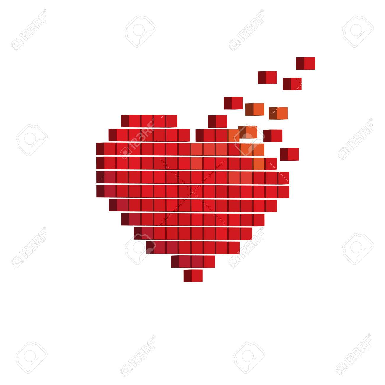 Pixels Art 3d Heart Designs Love Concept