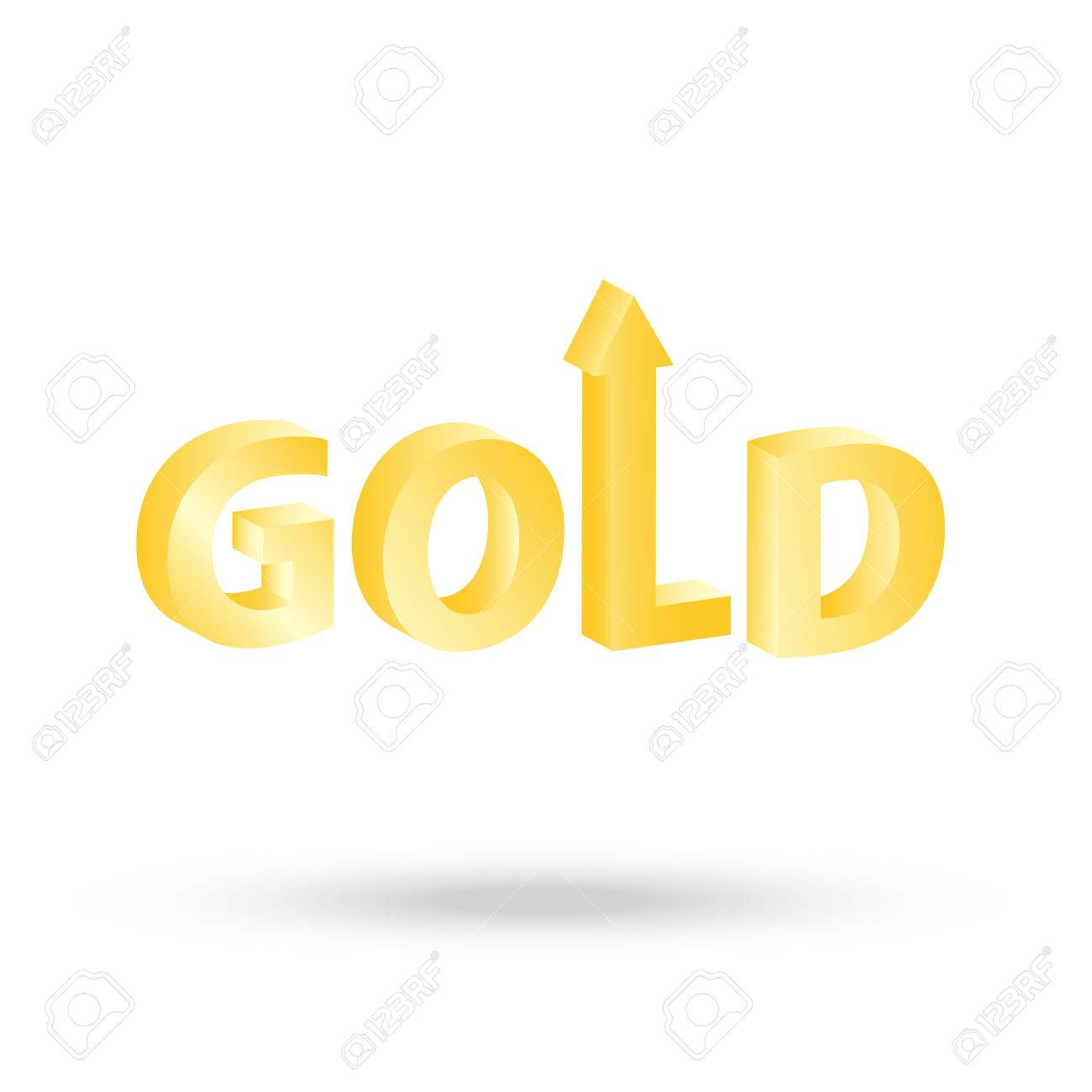 Precious Gold Value Symbol With Up Arrow Indicating Increasing