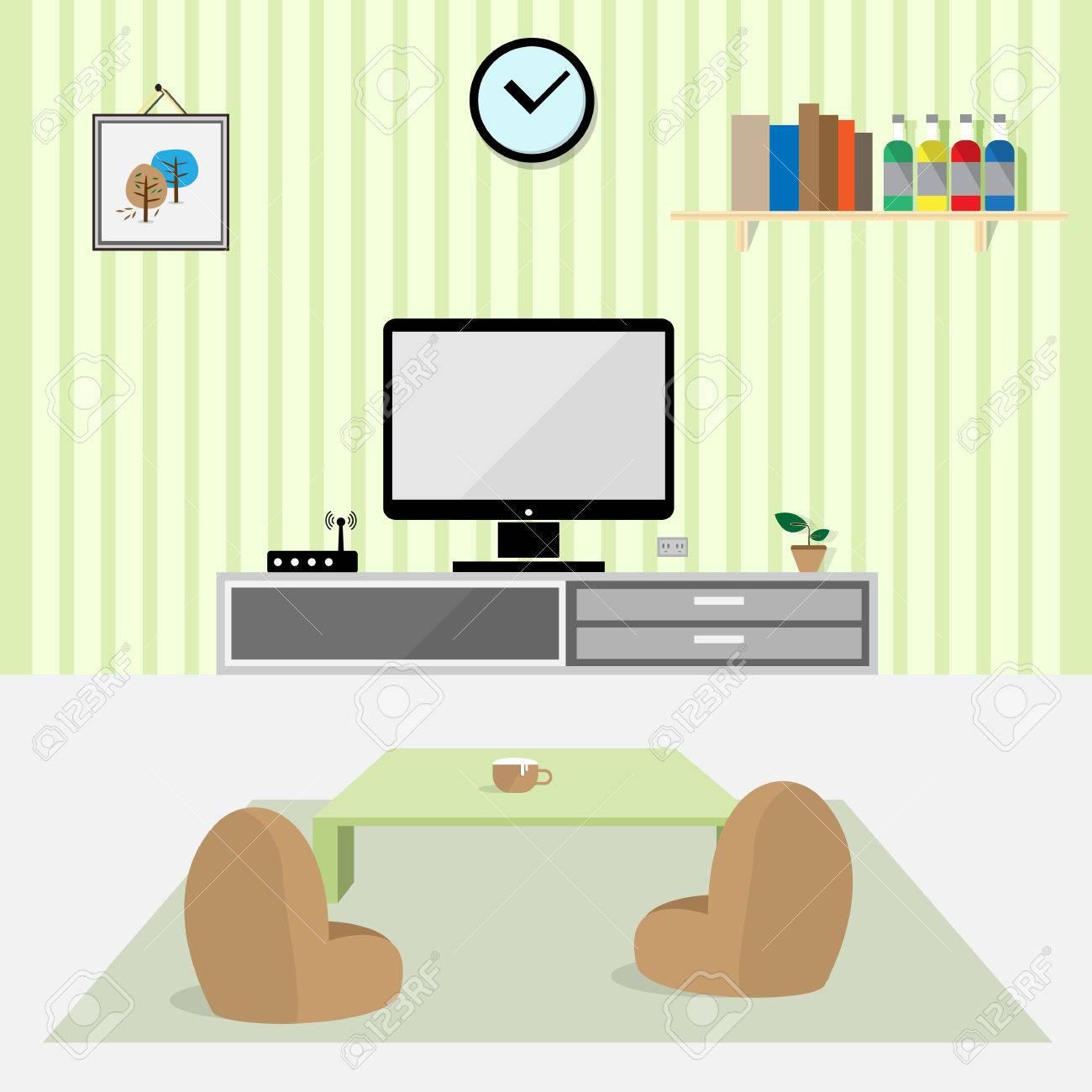 Living Room Interior Flat Design Vector Stock