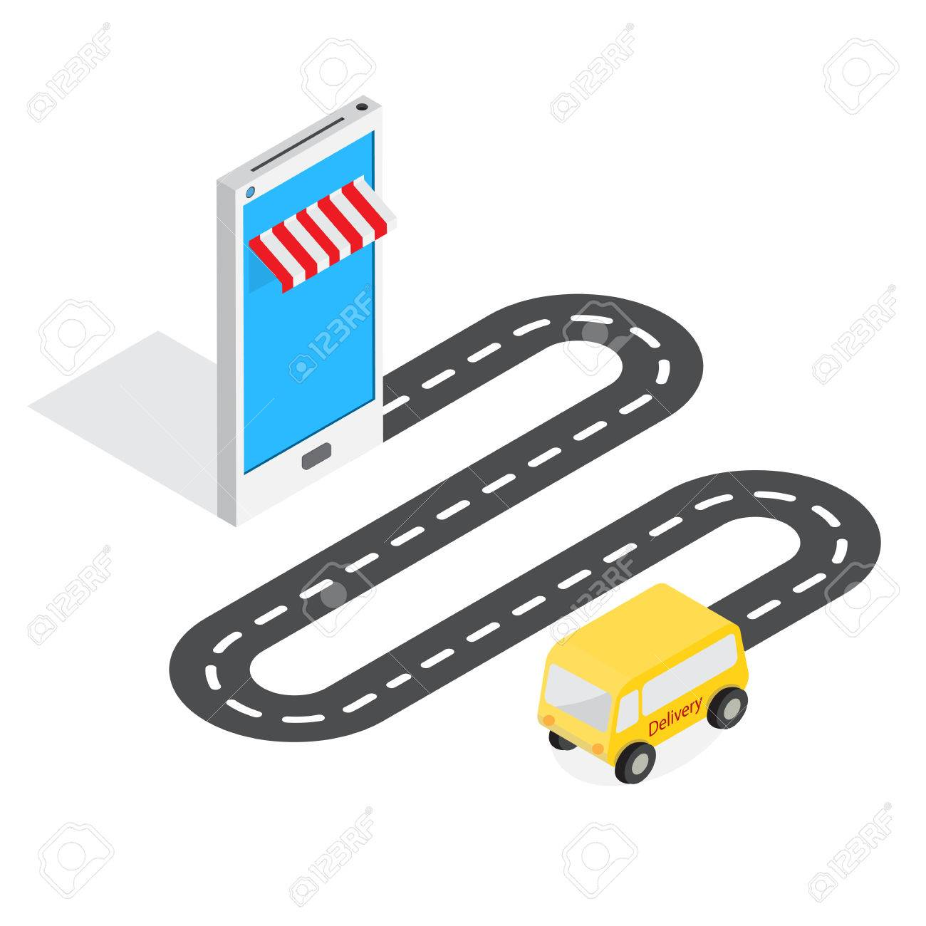 0917a70e184 online shop on mobile phone device symbol with road and delivery van shopping  online concept Stock