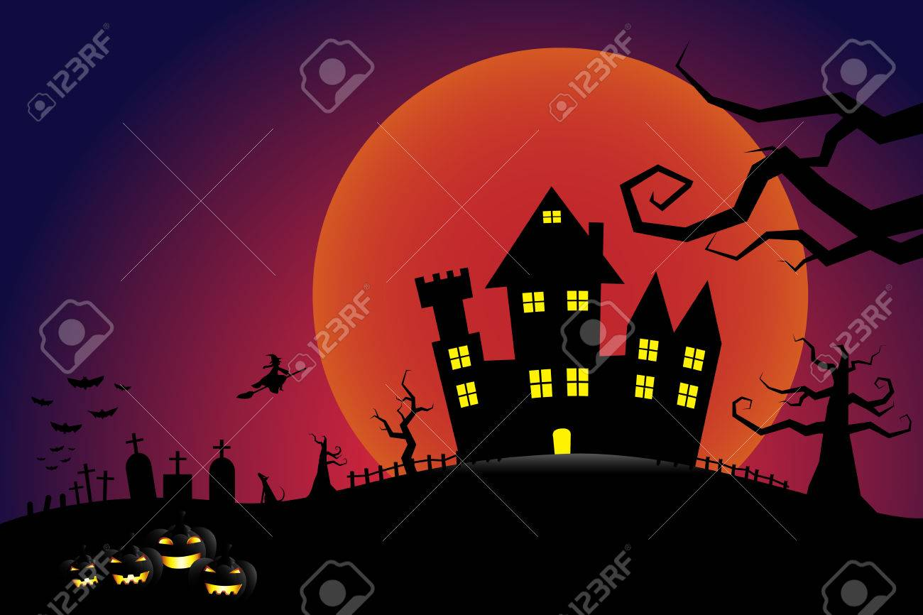 halloween pumpkins and a flying witch from dark castle with bloody moon background stock vector