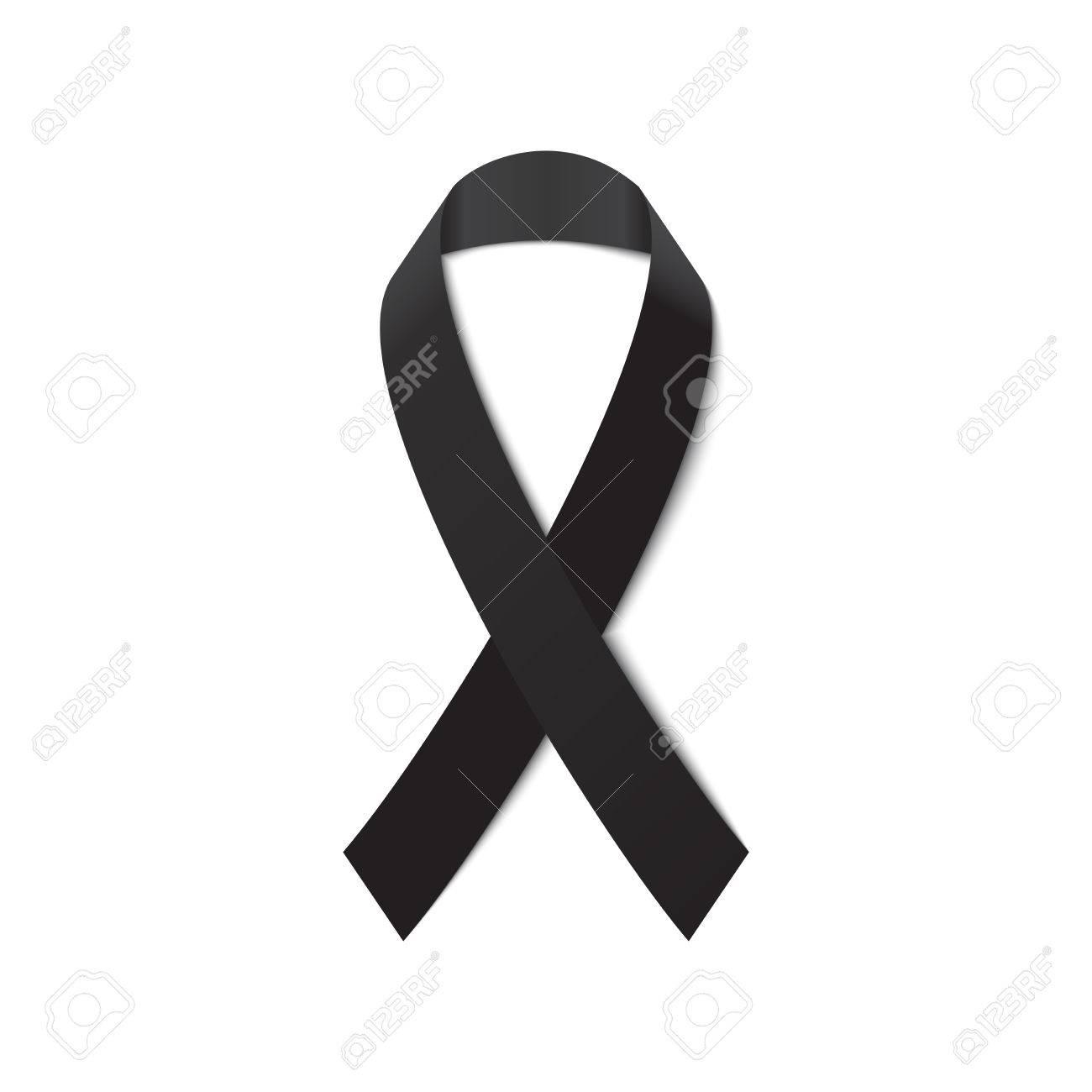 Schwarzes Bewusstseinsband Für Mourning Symbol Auf Weißem