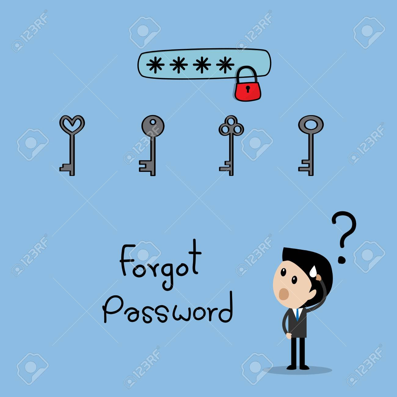 123Rf Password keys with text box locked forgot password concept royalty free