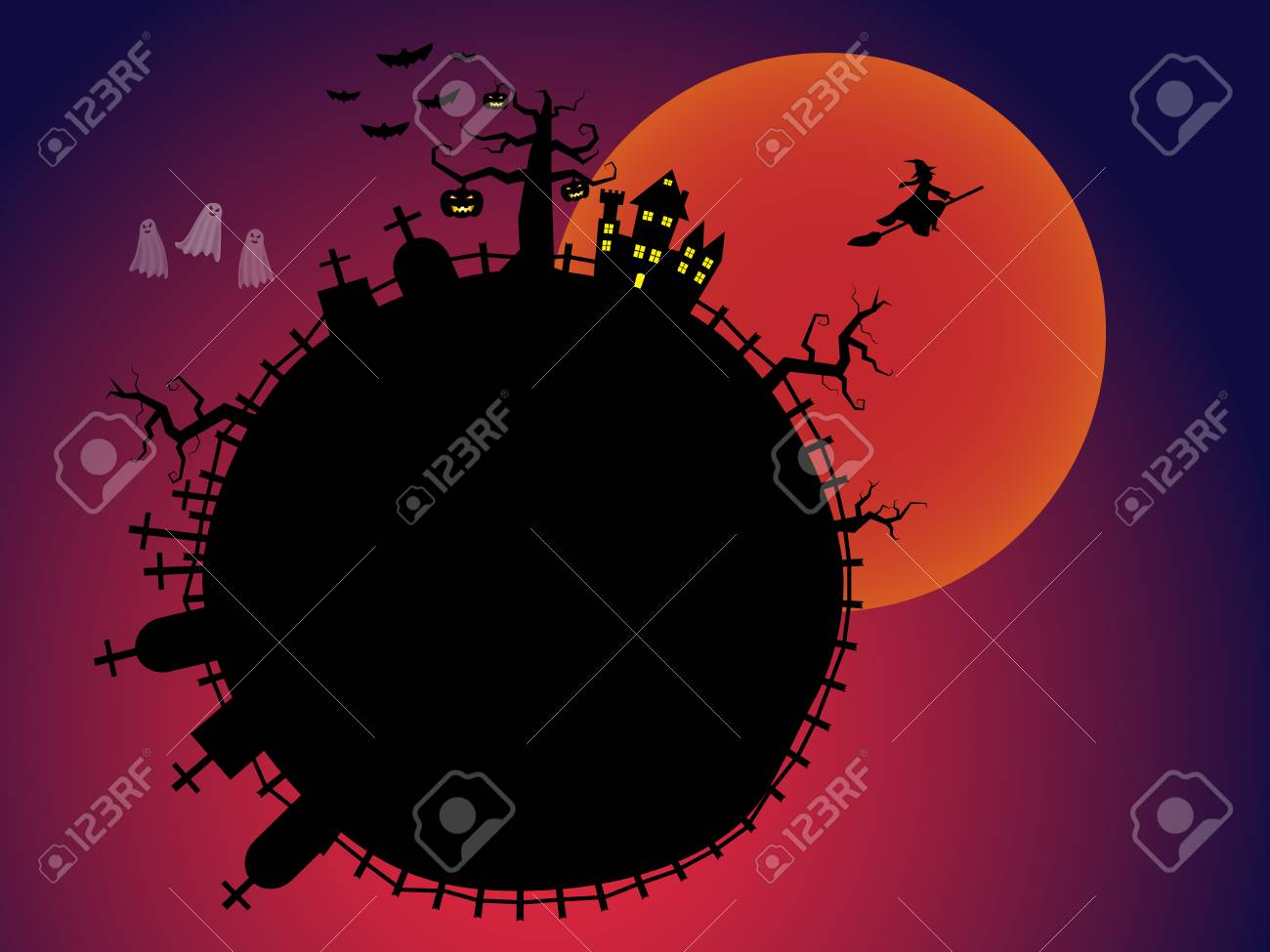 halloween bloody moon with pumpkins and a flying witch from dark castle stock vector 84363171